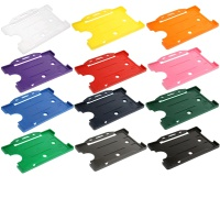 CH-LOF-XX Rigid Plastic Open Faced Single Card ID Badge Holder, wide range of colours - Landscape